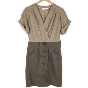 Ann Taylor Loft Dress 8 Safari Cargo Drape V Wrap
